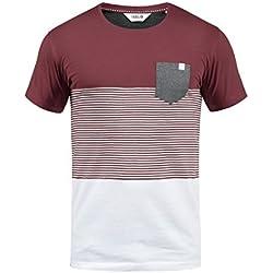 !Solid Malte Herren T-Shirt Kurzarm Shirt mit Rundhals-Ausschnitt und Brusttasche Aus Hochwertiger Baumwollmischung Regular Fit, Größe:XXL, Farbe:Wine Red (0985)