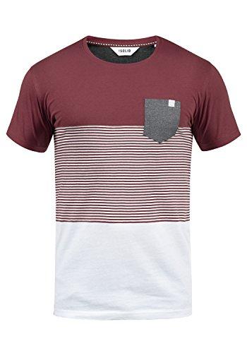 !Solid Malte Herren T-Shirt Kurzarm Shirt Mit Streifen Und Rundhals, Größe:XL, Farbe:Wine Red (0985) - Rote Seitliche Streifen-shirt