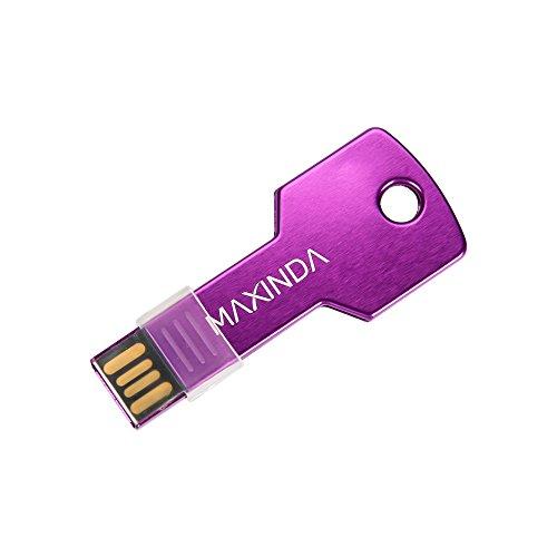 8GB/16GB/32GB/64GB USB LLave Pen Drive/Memoria USB/Flash Drive/Memory Stick en forma de llave de metal, Medidas: 5.7 x 2cm x 2mm (32GB, Púrpura)