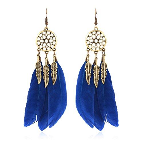 Crunchy Fashion Jewellery Blue Feather Dream Catcher Earrings for Girls Fancy Party Wear Earrings for Women