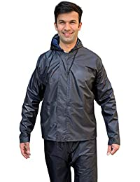 Daelyn Heavy Duty Waterproof Windproof Raincoat Jacket and Pant Set for Men & Emergency rain Shoe Covers