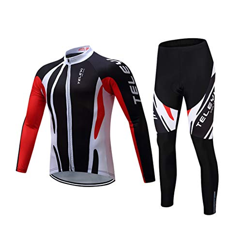 GWELL Herren Radtrikot Fahrradbekleidung Set Trikot Langarm   Radhose mit Sitzpolster für Radsport, Schwarz, XL