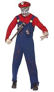 Smiffys Disfraz de Fontanero Zombi, Rojo, con Parte de Arriba, Peto con Costillas de lát