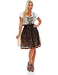 10592 Fashion4Young Dirndl 3 tlg.Trachtenkleid Kleid Mini Bluse Schürze Trachten Oktoberfest