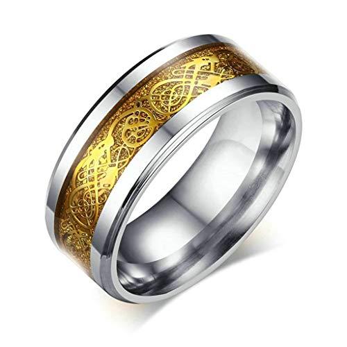 Aooaz gioielli anello coppia anelli per gli uomini fede nuziale di drago celtico d'oro di 8mm anello acciaio inossidabile oro ensione italiana 25
