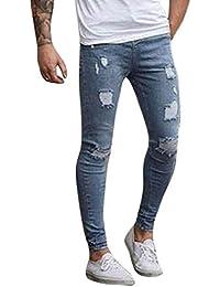 Jeans Hombres Rotos Largos Vaqueros Simple Denim Pantalón Slim Harem Pantalones P7BEAd