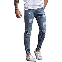 90fe5bac2c pantalones rotos largos vaqueros Sannysis hombres vaqueros pantalones  hippie harem pantalones de deportivos con bolsillos slim