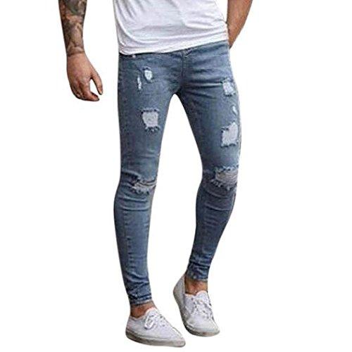 826bd8a0 pantalones rotos largos vaqueros Sannysis hombres vaqueros pantalones  hippie harem pantalones de deportivos con bolsillos slim fit skinny jeans  ...