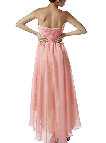 Find Dress Femme Elégant Sexy Robe de Soirée/Cérémonie/Mariage/Cocktail Robe Bustier Asymétrique en Mousseline de Soie Blush