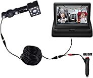 Baby Car Mirror, Back Seat Baby Car Camera with HD Night Vision Display, Wide View, 12V Cigarette Lighter, Eas