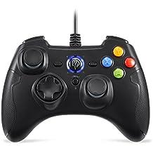 EasySMX Controller Joystick per Giochi con Cavo con Doppial-vibrazione, Turbo e Pulsanti Anteriori per Windows / Android / PS3 / Box TV (nero)