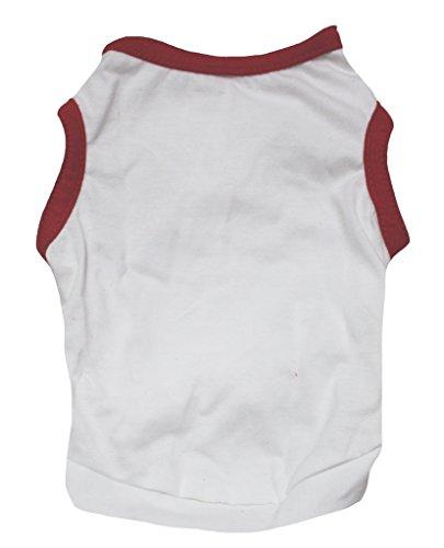 Petitebelle Pet Supply Red White Cotton T-Shirt Novelty Dog Dress (White Rabbit Dog Kostüm)