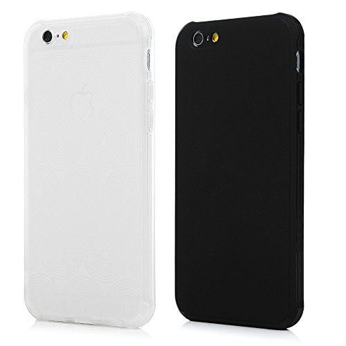 2x Cover iPhone 6, iPhone 6s Custodia Silicone [1,3mm Fotocamera Protetteiva] Antiscivolo Antiurto Slim Bumper Case per iPhone 6/6s - Menta Verde + Blu Scuro Nero + Semitrasparente