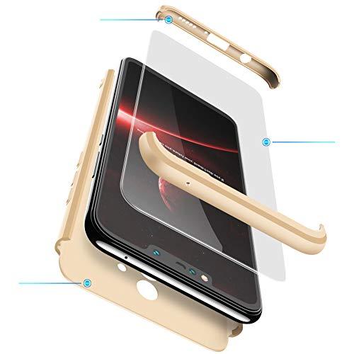 2ndSpring Huawei Mate 20 Lite Hülle, Mate 20 Lite Handyhülle 3 in 1 Ultra Dünner PC Harte Schutzhülle 360 Grad Hülle + Panzerglas für Mate 20 Lite Komplett Hülle Fullbody Case Cover Gold