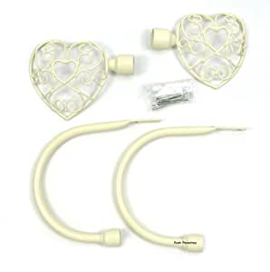 Paire de style Shabby Chic Motif cœur en métal Crème/ivoire Embrasse &embouts