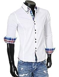 Carisma Herren Kontrast Manschetten Hemd Casual Freizeit Party Club SlimFit tailliert figurbetont langarm Männer Shirt