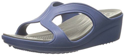 Crocs Sanrah Wedge W, Sandales - Femme Bleu (Bijou Blue/Smoke)