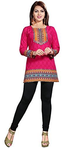 Indiani Kurti Top Tunica Stampato Womens Camicetta India Abbigliamento (Rosa, L)