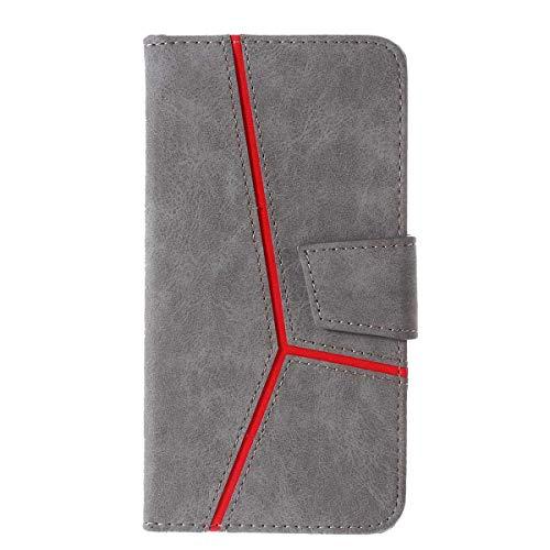 Huawei P30 Lite Hülle, DENDICO Leder Handyhülle Wallet Case für Huawei P30 Lite Schutzhülle Klapphülle mit Magnetic Snap und Kartensteckplätze - Grau Design Snap Case