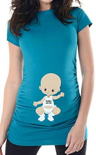 bellytime Babyboy Gentleman 3 Gr. 38 (M) türkis, Umstandsmode individualisierbar, Schwangerschafts T-shirt von, für Schwangere, bedrucktes Umstandsshirt für die werdende Mama, Geschenk, witzig