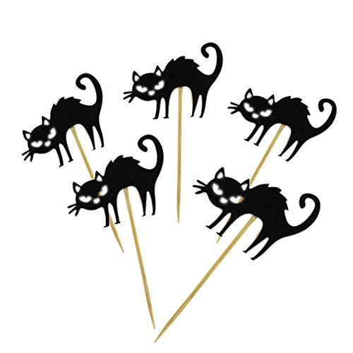 Stadt Kostüm Mädchen Katze Party - WSJDE 5 Stück Halloween Horror Cupcake Topper schwarz Katze Kuchen Karte für Geburtstag Party Kinder Kuchen Dekoration Po Requisiten