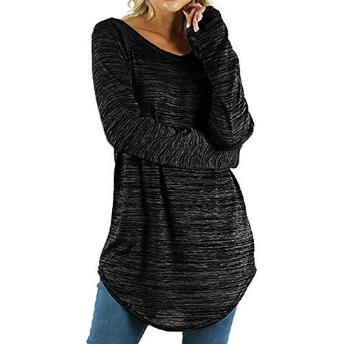 BHYDRY Frauen Plus Größe Einfarbig RounLange Bluse Pullover Tops Shirt(EU-48/CN-XL,Schwarz)