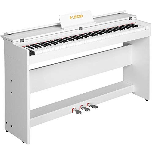 Mecor E-800 Digital Piano Keyboard 88 Tasten mit 3 Pedale, Adapter & USB/MIDI Minimalismus Weiß