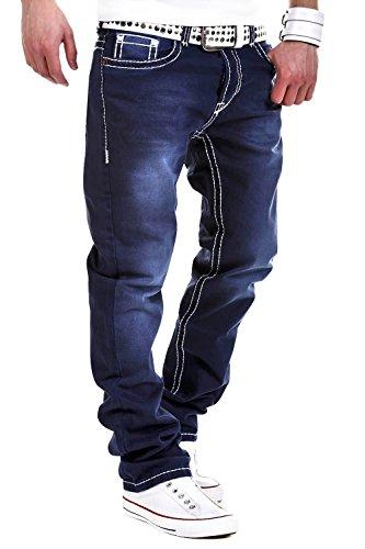 MT Styles Jeans Straight-Fit Hose RJ-133 [Dunkelblau, W32/L34]
