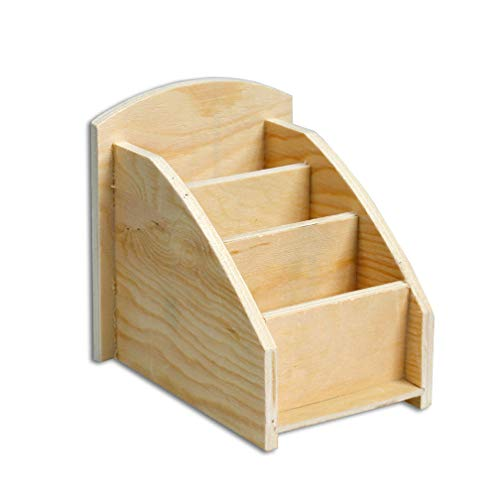 Vetrineinrete® portapenne organizer in legno da scrivania 3 scomparti portaoggetti contenitore penne da decorare decoupage fai da te bricolage pittura d66