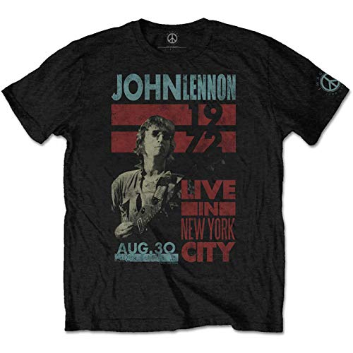 John Lennon Live in NYC 1972 The Beatles offiziell Männer T-Shirt Herren (Large)