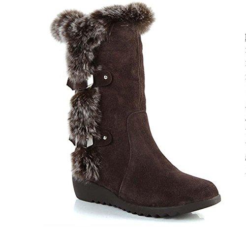 SHIXR Onorevoli nuovo inverno scrub coniglio capelli neve stivali-in-tubo e stivali di velluto , black (10 Anatre Piccolo Gomma)