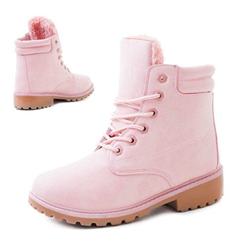 Robuste Damen Boots Schnür Stiefelettten Schuhe in Lederoptik Pink Toronto