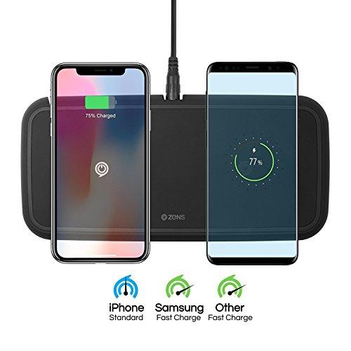 ZENS Qi Certified Dual Wireless Fast Charge Pad 20W Nero, Supporta la Ricarica Veloce Senza Fili per Samsung Galaxy Serie S7/S8/S8/S9 - Funziona con Tutti i dispositivi di Ricarica Wireless