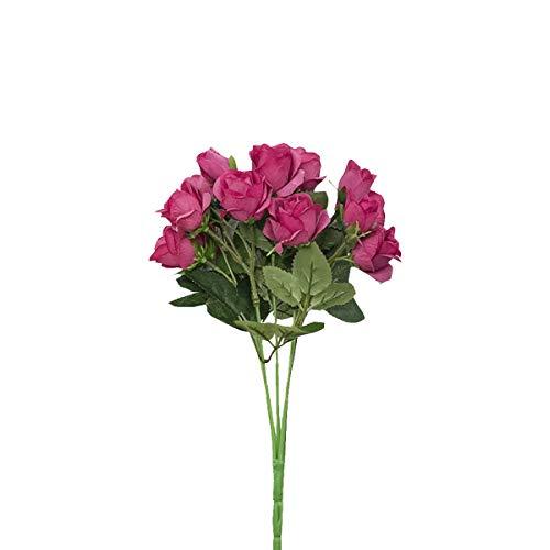 Mingzuo Künstliche Blumen, 15 Köpfe, künstliche Rose, Seide, Kunstblume, echte natürliche Rose, für Hochzeit, Party, Brautstrauß, Heimdekoration, rose, 15 flowers (Künstliche Blumen Für Die Beerdigung)