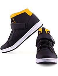 Skoene Casual High Ankle Shoes Yellow And Black Color