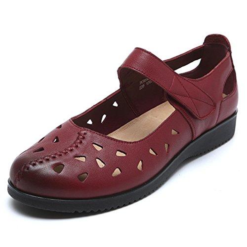 Damen Sandalen Geschlossen Aushöhlen Atmungsaktiv Klettverschluss Retro Modisch Leicht Weich Bequem Freizeit Sommerlich Schuhe Weinrot