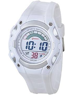 Montre Concept Damen/Kinder Digital-Armbanduhr Mingrui–Armband aus Kunststoff, weiß–Zifferblatt rund, grau