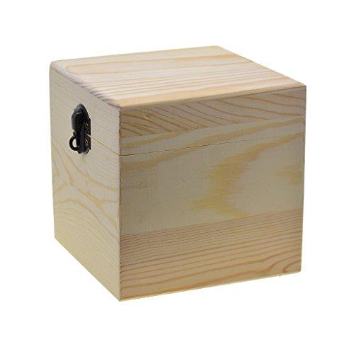 Homyl Holzkästen Quadratisches Aufbewahrungsbox Holzkiste für Speicherschmucksachen, Verzierungen, Rezeptkarten (Quadratische Aufbewahrungsbox)