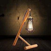 Soporte de lámpara moderna troncos de madera minimalistas bombilla de Edison de la lámpara de sombra jaulas pequeñas de hierro
