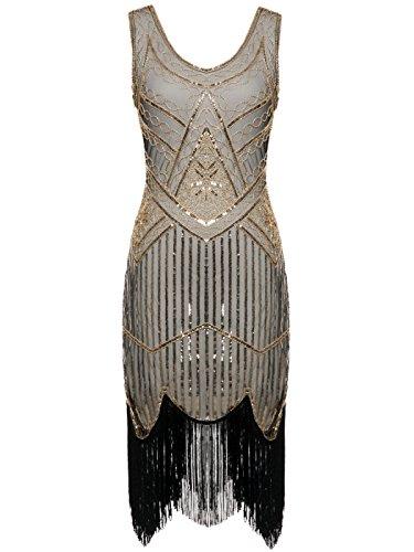 illetten Perlen Quasten Falten Gatsby Flapper Kleid D20S001(M,Dunkelbeige+Gold) (20er Jahre Kleidung)