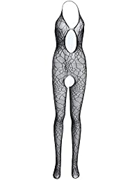 Chinatera Women's One Halter Straps Bodystocking Lingerie Open Crotch Nightwear