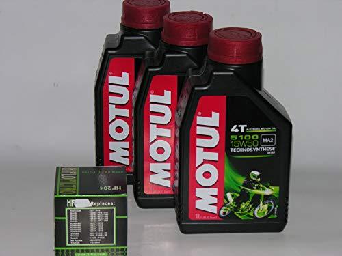 3 LT LITRI OLIO moto MOTUL 5100 15W50 + FILTRO OLIO Technosynthese Sintetico 4T.