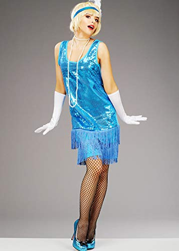 Kostüm Blau Pailletten Flapper - Magic Box Int. Womens 1920er Jahre blau Pailletten Flapper Mädchen Kostüm Large (UK 16-18)