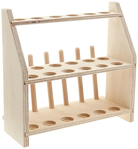 neoLab E-7057 Wooden Test Tube Rack for 12 Test Tubes with 2 Levels Hole Diameter 20 mm 6 Drip Pegs