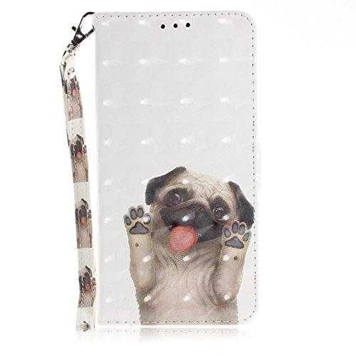 vingarshern Hülle für DOOGEE Y300 Schutzhülle Etui Tasche Klappbares Magnetverschluss Lederhülle Flip Case Handytasche Doogee Y300 Hülle Leder Brieftasche MEHRWEG(Mops)
