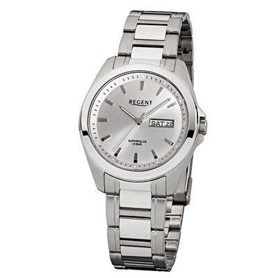 REGENT 11150520 - Reloj para hombres, correa de acero inoxidable color plateado