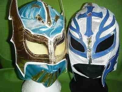 BLAU SIN CARA - WEIß REY MYSTERIO KOSTÜM VERKLEIDEN OUTFIT MASKE RINGER MASKE FÜR KINDER SATZ KINDER JUNGEN BRAND NEU PARTY MEXIKANISCH COSPLAY MINT SERIE WWF TNA ECW (Sin Cara Kostüm Blau)