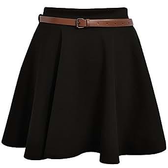 Fashion Street Ladies Belted Skater Skirt (XL UK.Black)