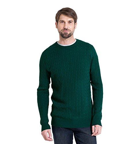 Wool Overs Pull torsadé en cachemire et mérinos homme Bottle Green