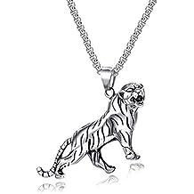 Collar con Acero Inoxidable Colgante Cabeza de Tigre símbolo de Poder y Felicidad Animal Serie Joyeria